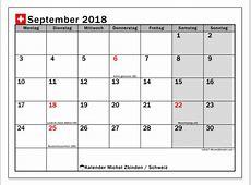 Kalender September 2018, Schweiz