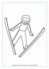 Ski Jumping Colouring Winter Olympics Olympic Sports Coloring Skiing Pages Preschool Crafts Games Printable Activities Activityvillage Skating Sport Jumper Speed sketch template