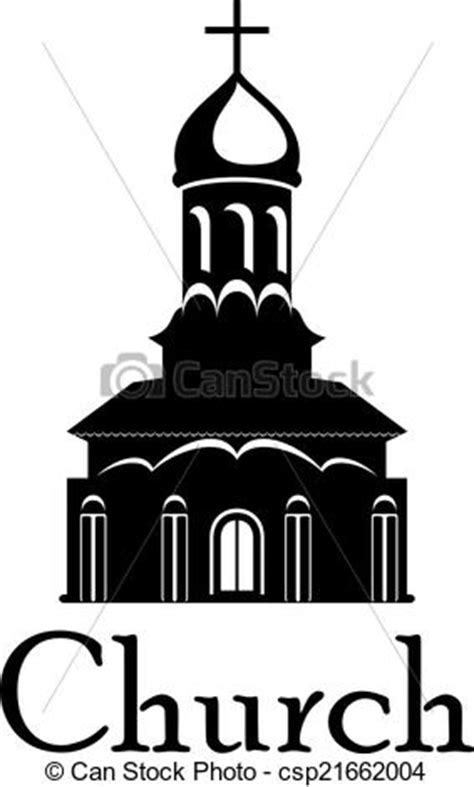 religious temple or church. Black and white temple or