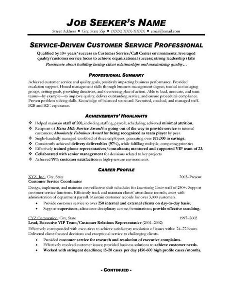 Customer Service Resume In Canada by Customer Service Resume Format Roiinvesting