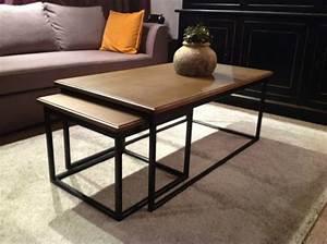 Table Salon Gigogne : table basse gigogne fer et ch ne hugo coup de soleil mobilier ~ Dallasstarsshop.com Idées de Décoration