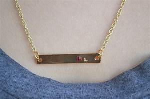 groopdealz personalized bar letter birthstone necklace With letter bar necklace