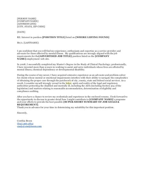 Cover Letter Re Line by Sle Cover Letter With Attention Line Cover Letter