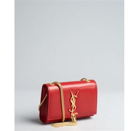 saint laurent red leather ysl shoulder bag  red lyst