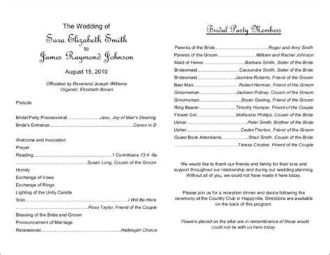 include   wedding program  samples