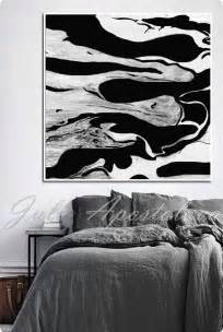 Abstract On Black Canvas by Black And White Print Wall Abstract Painting Large