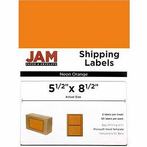 Jam paper large half sheet shipping labels neon orange 2 for Half sheet label paper