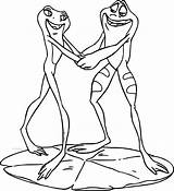 Coloring Disney Frog Princess Couple Frogs Dancing Couples Printable Getcolorings Wecoloringpage sketch template