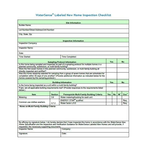 New Home Inspection Checklist Template by 20 Printable Home Inspection Checklists Word Pdf
