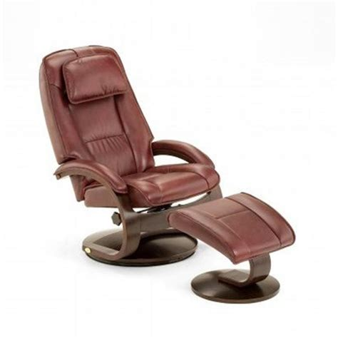 leather swivel recliner with ottoman mac motion oslo collection merlot top grain leather swivel