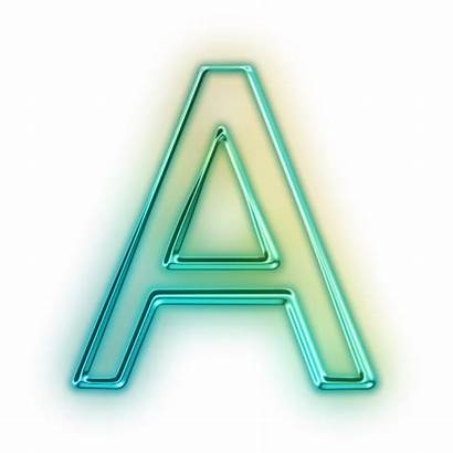 Letter Transparent Neon Icon Glowing Alphabet Aa