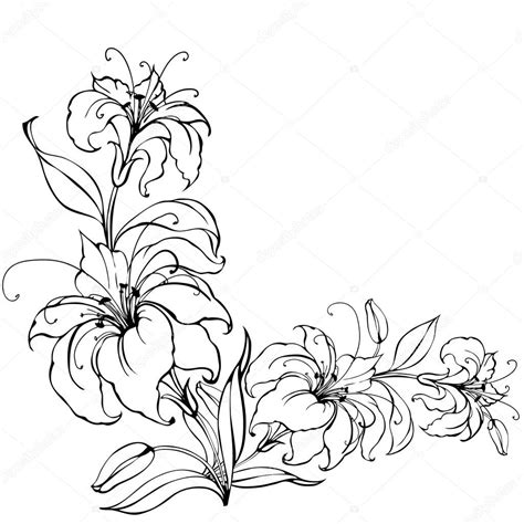 Azuzena Flower Template by Lily Flower Stock Vector 169 Kotkoa 23281522