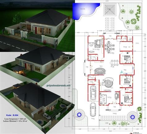 desain rumah type 300 1 lantai 4 kamar tidur jasa desain