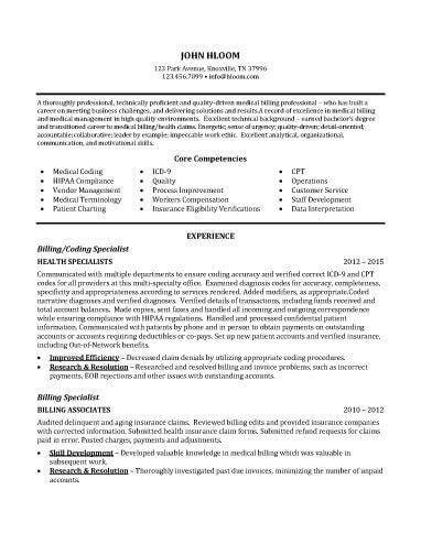 Billing Specialist Resume Exles by Billing Specialist Resume Sle Resume