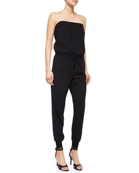 joie jumpsuit joie fairley strapless blouson jumpsuit in black lyst