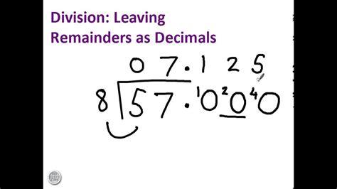 division  remainders  decimals youtube