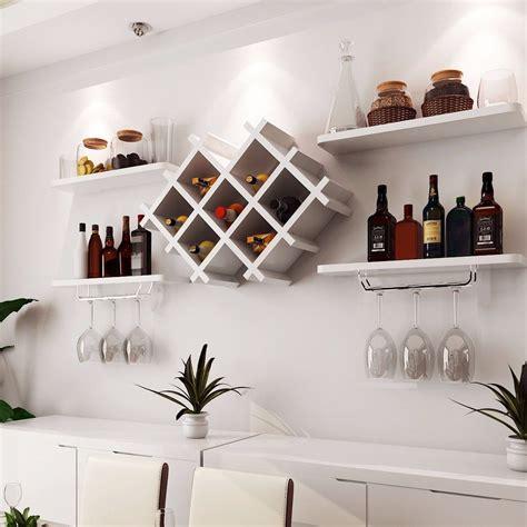 wall wine rack glass holder   floating shelves