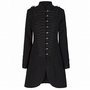 Ladies Black Military Gothic Style Braided Wool Effect ...