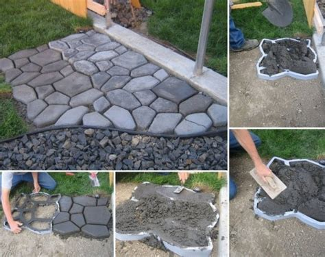 how to diy concrete cobble garden path