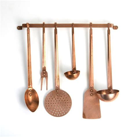 kitchen hanging accessories fancy vintage copper utensils on wall rack hanging 1787