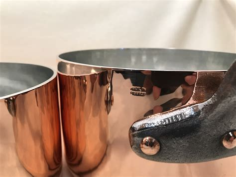 set   french copper tin lined hammered sauce pans rocky mountain retinning