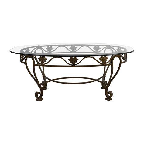 glass and iron table 90 off iron cast glass top antique coffee table tables