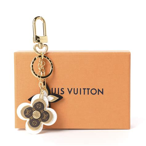 louis vuitton monogram epi blooming flowers bag charm key holder white  fashionphile
