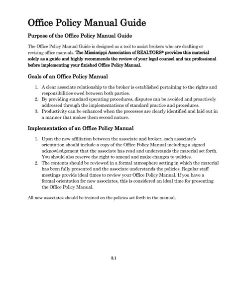 Department Manual Template by Office Procedures Manual Template Free