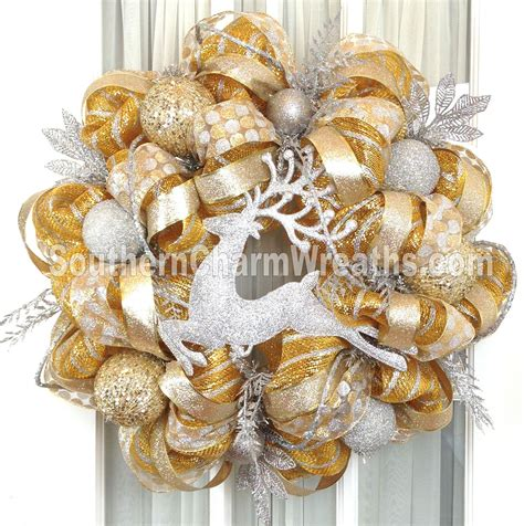 gold christmas wreath deco mesh wreaths southern charm wreaths