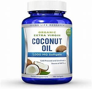 Amazon Com  Coconut Oil Capsules - 1000 Mg Organic Extra Virgin - 180 Softgels