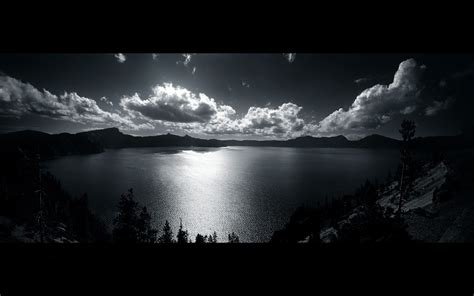 lake landscape clouds black white wallpapers hd