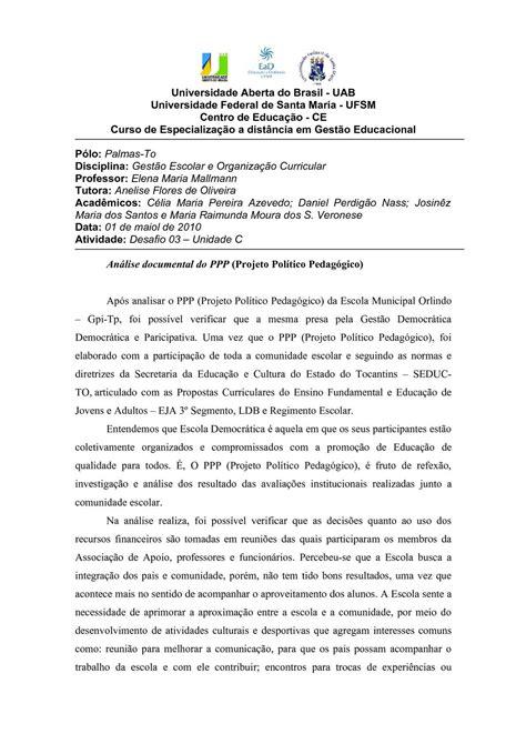 Calaméo - Análise documental do PPP