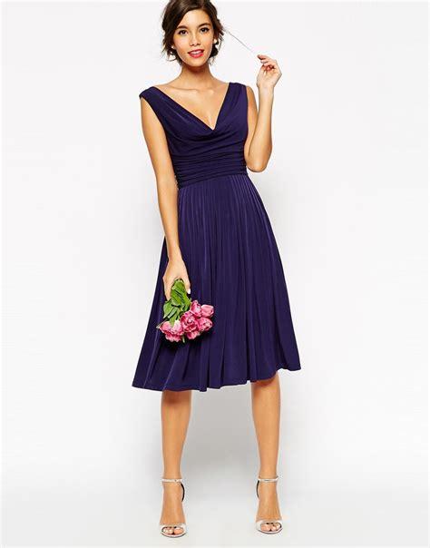 asos drape dress lyst asos wedding drape cowl neck pleated midi dress in blue