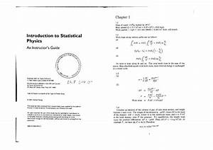Introduction To Statistical Physics  A Instructors Guide