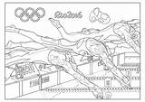 Coloring Swimming Olympic Games Rio Olympics Adult Pages Sport Events sketch template