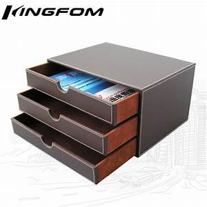 3 drawer 3 layer leather desk filing cabinet file document With document organizer box
