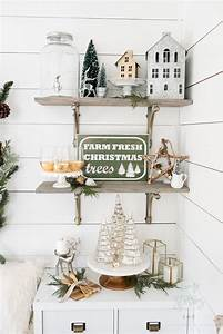 Farmhouse, Christmas, Tips, On, How, To, Affordably, Decorate, Christmas, Shelves