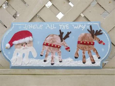 santas reindeer handprint plaque fun family crafts