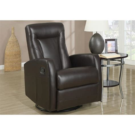 Leather Swivel Recliners by Monarch Specialties Brown Bonded Leather Swivel