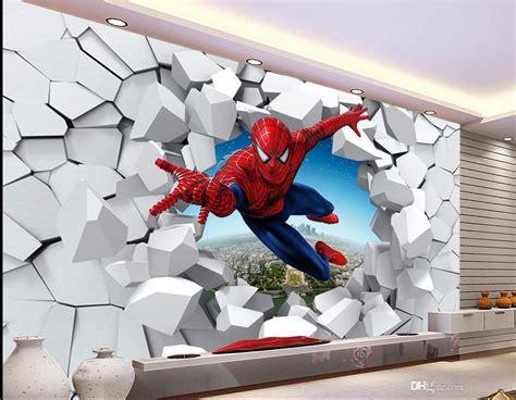 cartoon wallpaper  bathrooms  brick wall spiderman