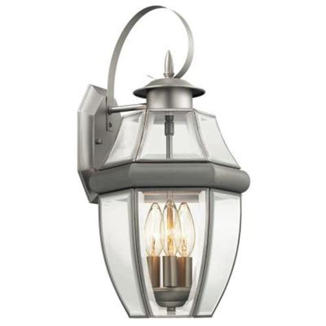 hton bay brushed nickel 3 light outdoor wall lantern hton bay 3 light outdoor brushed nickel wall lantern