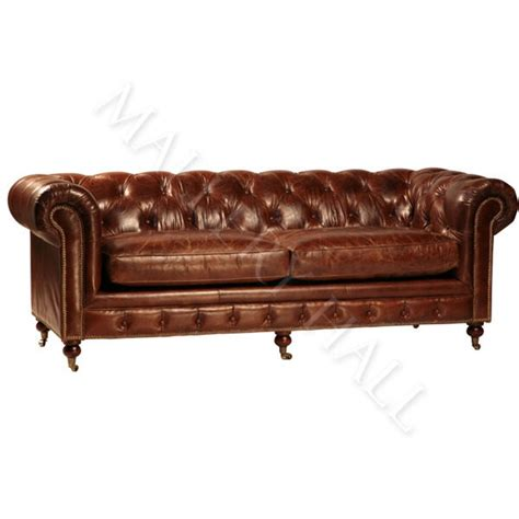 Aged Leather Sofa by Vintage Chesterfield Distressed Aged Leather Tufted Sofa