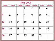 Blank Calendar July 2017 Template Australia Printable
