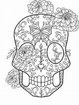 Coloring Skull Sugar Adult Printable Sheets Halloween Mandala Coloringhome sketch template