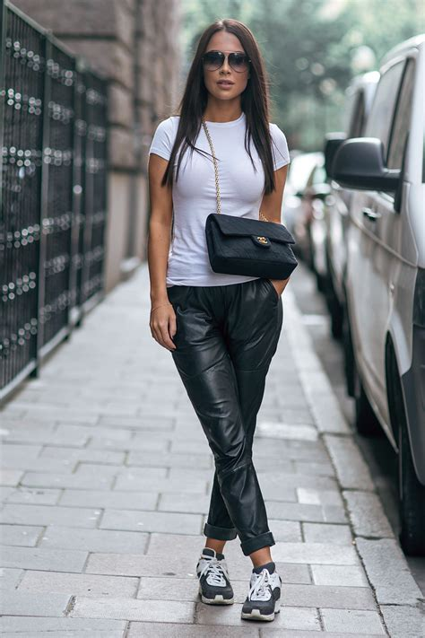 Black and White Outfits with Sneakers