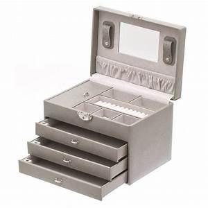 Boite A Bijoux : boite bijoux 3 tiroirs gris achat vente boite a bijoux boite bijoux 3 tiroirs ~ Teatrodelosmanantiales.com Idées de Décoration