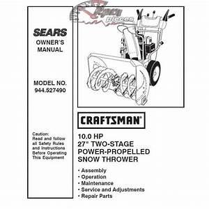 Craftsman Snowblower Parts Manual 944 527490
