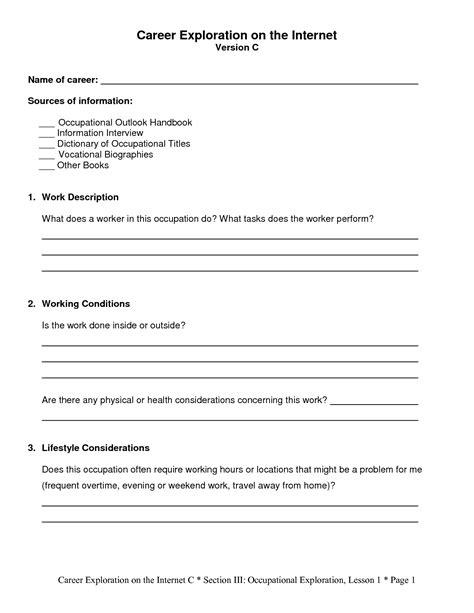 6 Best Images Of Career Exploration Worksheets  High School Career Planning Worksheet, Career
