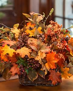 silk flower centerpieces autumn leaves berries silk foliage basket at petals