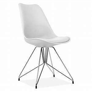 Chaise eames inspired blanc avec pieds eiffel en metal for Meuble salle À manger avec chaise salle a manger blanc laquà